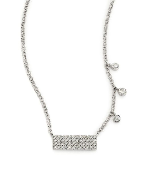 Meira T | Diamond & 14k White Gold Bar Pendant Necklace | Lyst