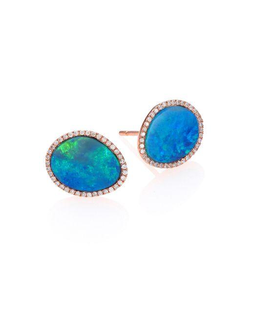 Meira T - Blue Opal, Diamond & 14k Rose Gold Stud Earrings - Lyst