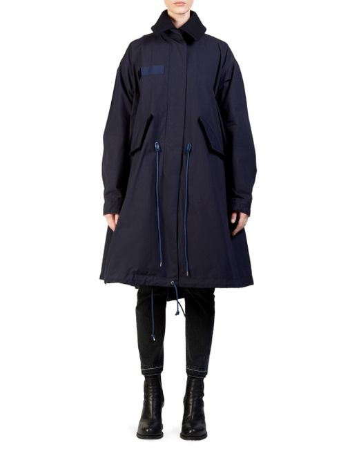 Sacai - Blue Two-tier Wool & Nylon Oxford Coat - Lyst