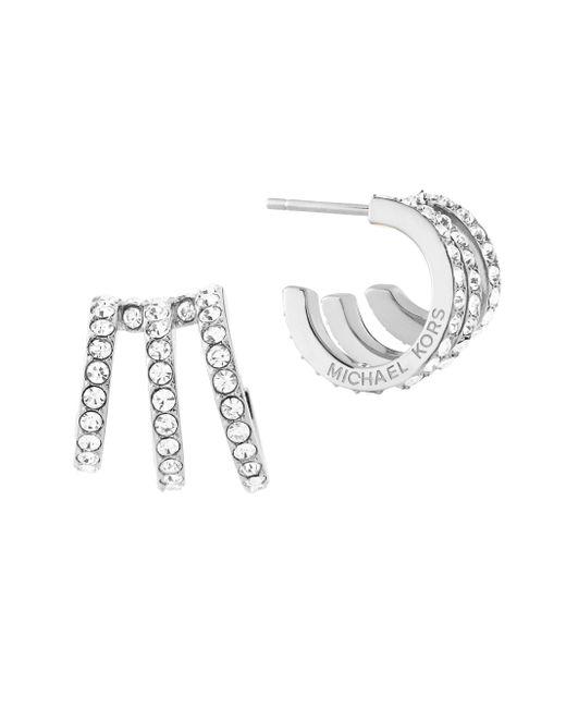 Michael Kors | Metallic Modern Brilliance Crystal Pave Huggie Earrings/silvertone | Lyst