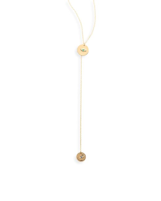 Delfina Delettrez | Metallic Sliding Drops Micro-eye Emerald, Sapphire & 18k Yellow Gold Lariat Necklace | Lyst