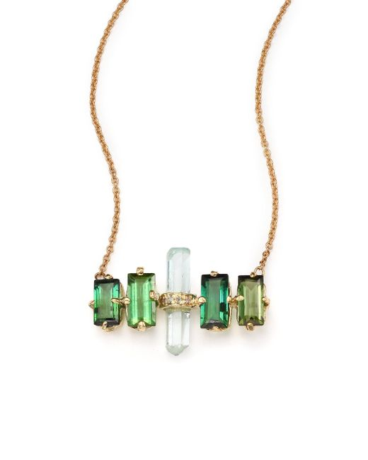 Jacquie Aiche - Metallic Green Tourmaline, Aquamarine & 14k Yellow Gold Aura Bar Pendant Necklace - Lyst