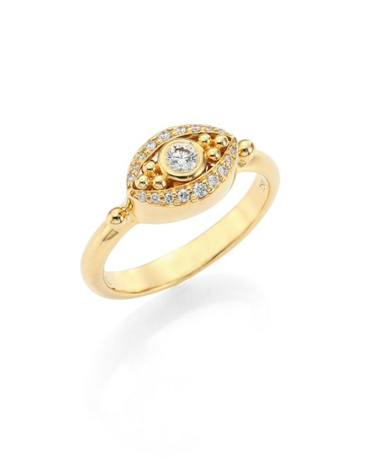 Temple St. Clair - Metallic Mini Evil Eye Diamond & 18k Yellow Gold Ring - Lyst