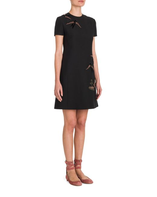 Valentino | Black Bird Embroidered Dress | Lyst
