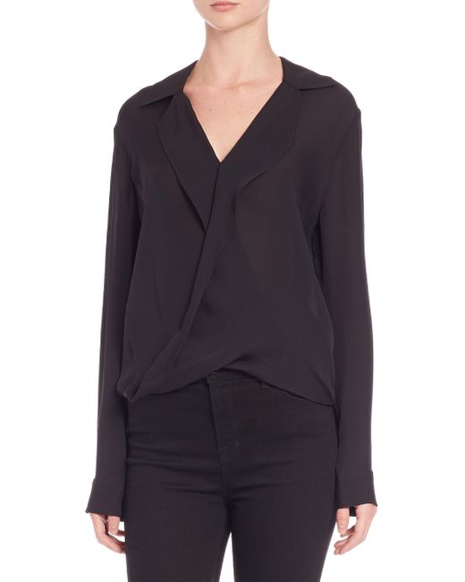 L'Agence Black Rita Drape-front Silk Blouse