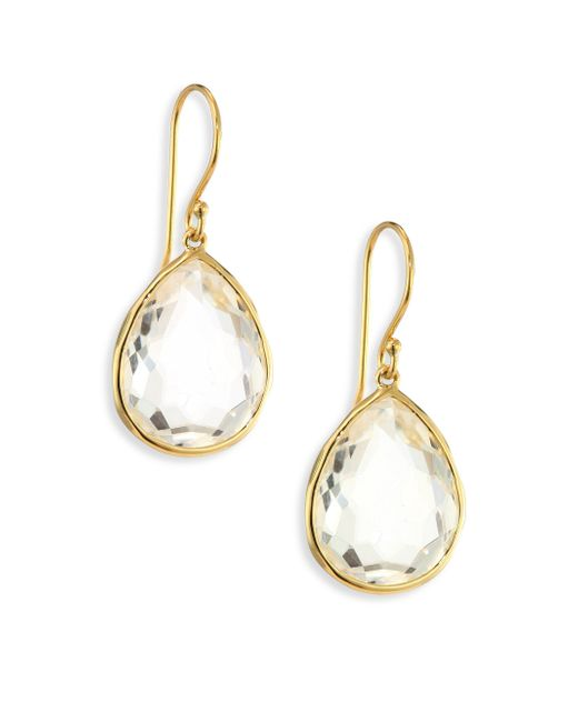 Ippolita - Metallic Rock Candy Gelato Clear Quartz & 18k Yellow Gold Medium Teardrop Earrings - Lyst