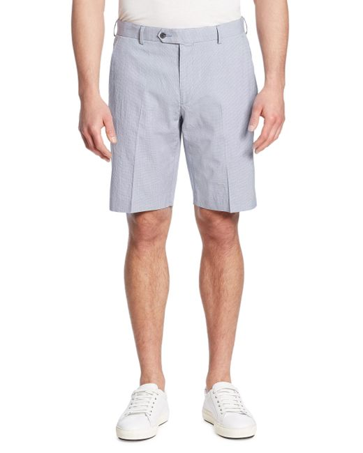 Saks Fifth Avenue | Blue Textured Cotton Blend Shorts for Men | Lyst