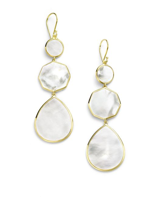 Ippolita Metallic Polished Rock Candy Mother-of-pearl & 18k Yellow Gold Crazy 8's Drop Earrings