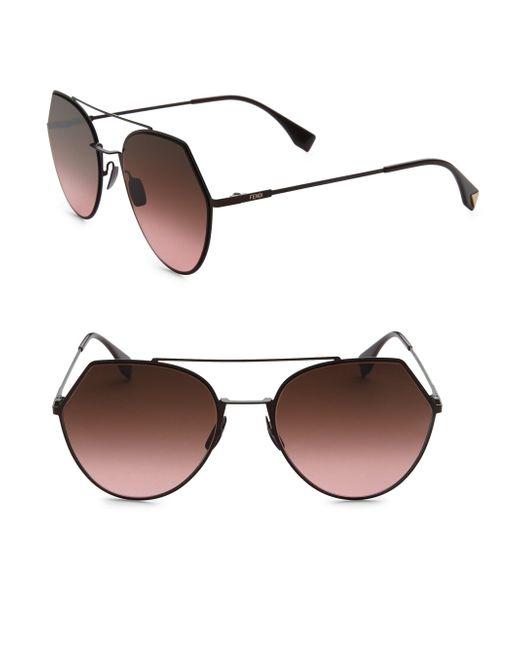 Fendi - Brown 55mm Notched Aviator Sunglasses - Lyst
