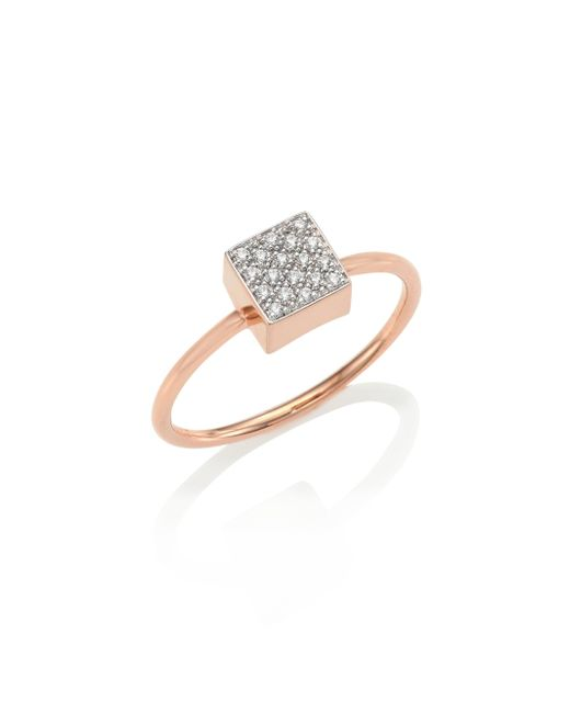 Ginette NY | Metallic Baby Diamond Ever 18k Rose Gold Square Ring | Lyst