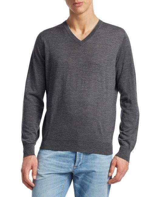 Brunello Cucinelli - Gray Wool & Cashmere V-neck Pullover for Men - Lyst
