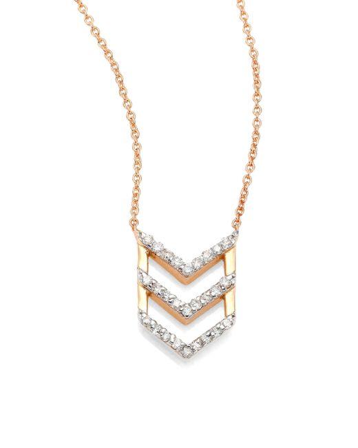 Kismet by Milka | Metallic Chevron Diamond & 14k Rose Gold Pendant Necklace | Lyst