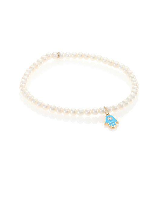 Sydney Evan - White Freshwater Pearl Bracelet - Lyst