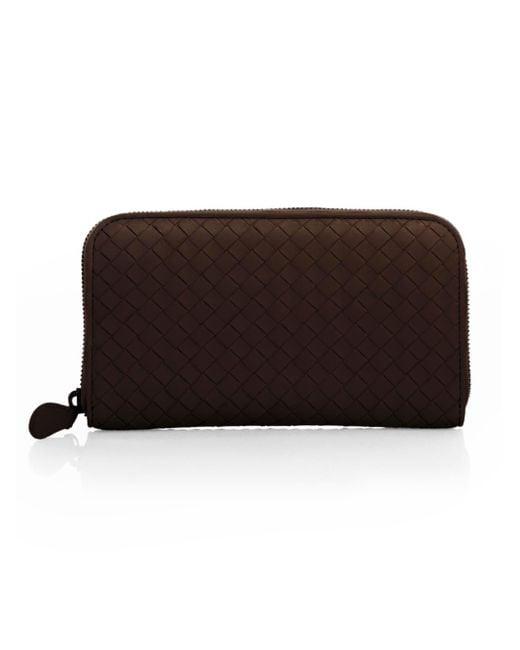 Bottega Veneta Brown Intrecciato Zip Continental Wallet