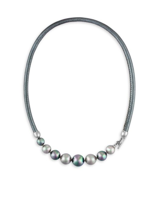 Majorica | Gray 9-12mm Nuage And Grey Pearl And Leather Graduated Necklace | Lyst