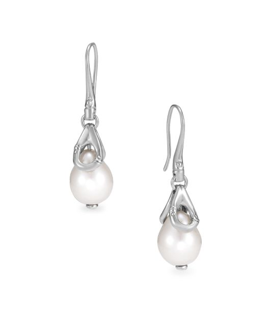 John Hardy - Metallic Bamboo 11mm White Pearl & Sterling Silver Drop Earrings - Lyst