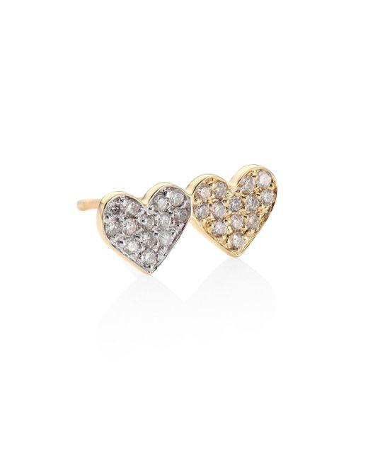 Sydney Evan | Metallic Small Pave Double Heart Diamond & 14k Yellow Gold Single Earring Stud | Lyst