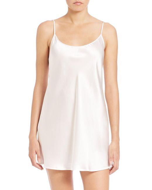 La Perla - Natural Short Sleeveless Silk Chemise - Lyst