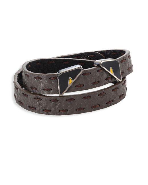 Fendi - Gray Monster Eyes Leather Wrap Around Bracelet - Lyst