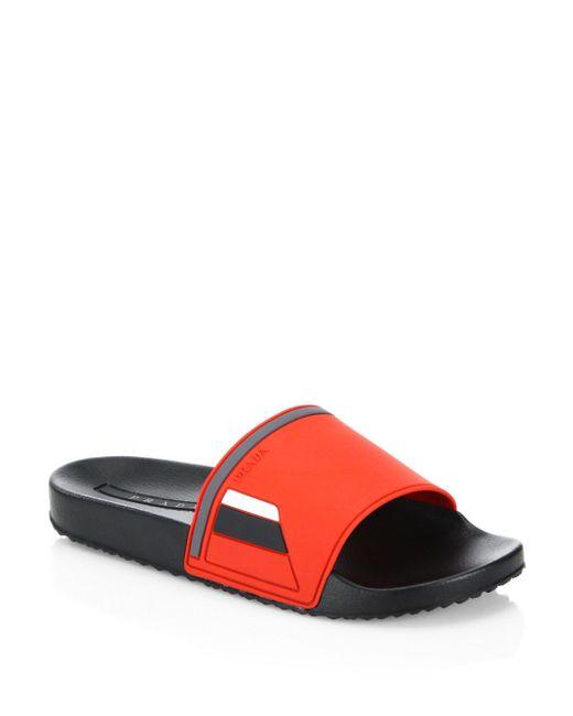 Prada | Red Shower Slide Sandals | Lyst