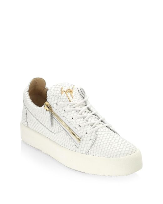 Giuseppe Zanotti - White Snake-print Leather Low-top Sneakers - Lyst