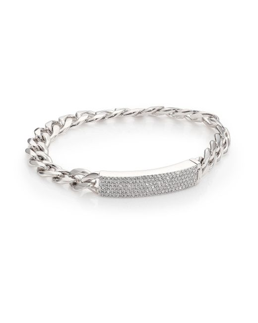 Adriana Orsini - Metallic Pave Crystal Curb Link Bracelet/silvertone - Lyst