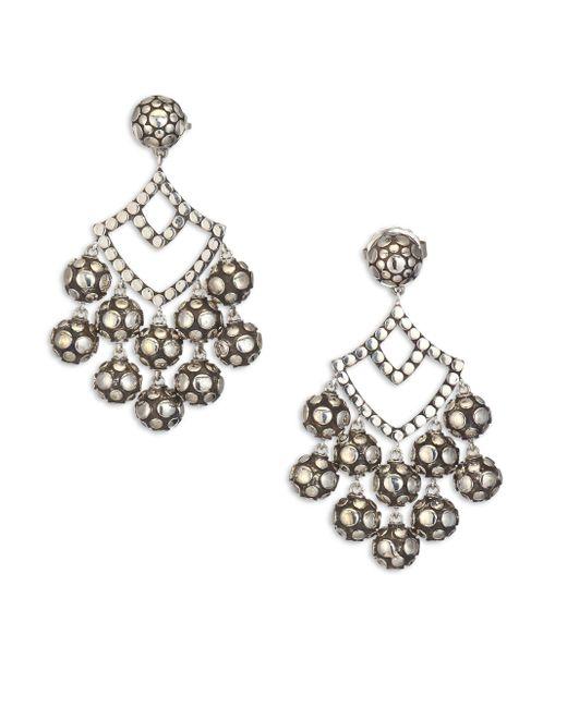 John Hardy | Metallic Dot Sterling Silver Chandelier Earrings | Lyst