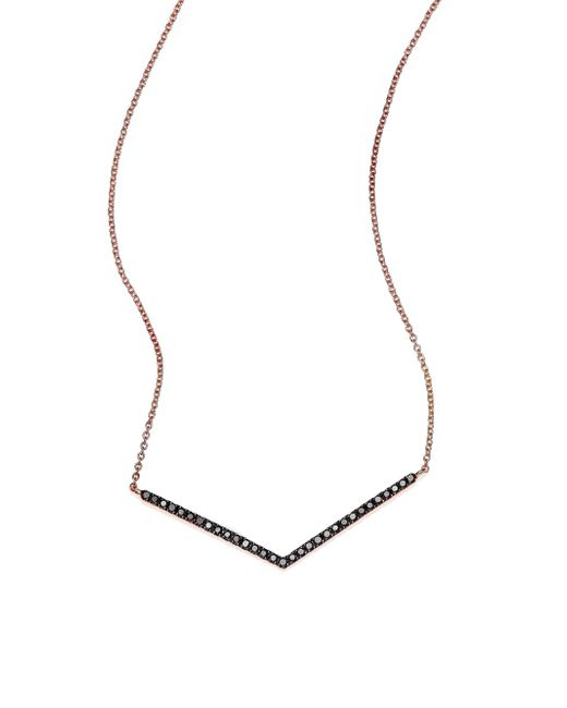 Diane Kordas - Metallic Black Diamond & 18k Rose Gold Chevron Necklace - Lyst