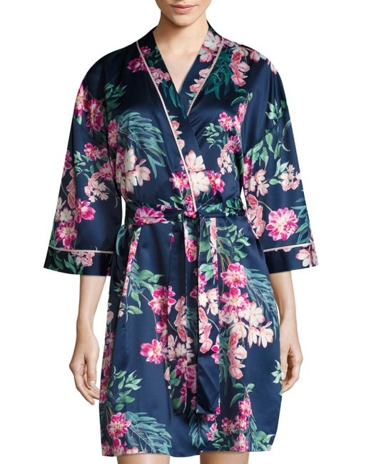Saks fifth avenue floral robe in blue save 2 lyst for Saks 5th avenue robes de mariage