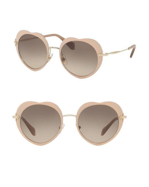 Miu Miu   Gray 52mm Heart Sunglasses   Lyst
