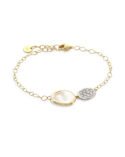 Marco Bicego - Metallic Lunaria 18k Yellow Gold & Diamond Chain Bracelet - Lyst