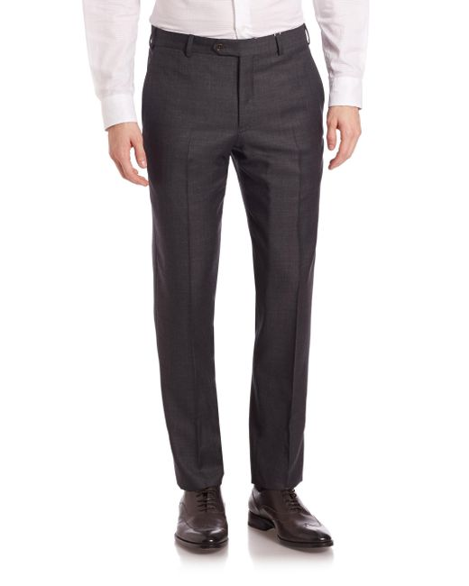 Armani - Gray Melange Textured Trousers for Men - Lyst