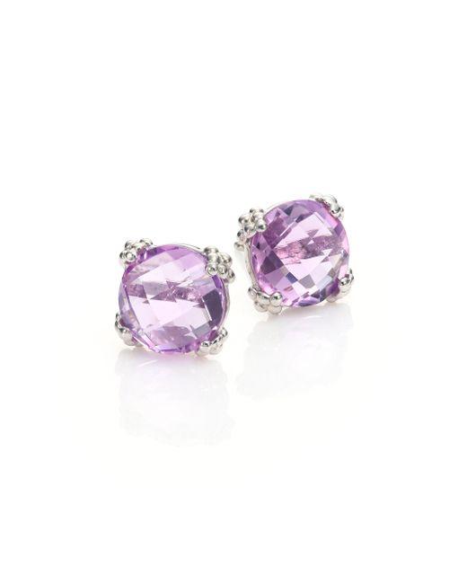 Anzie - Purple Dew Drop Cluster Amethyst Stud Earrings - Lyst