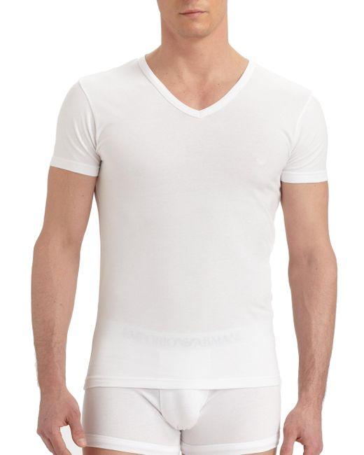 Emporio Armani - White Stretch Cotton V-neck T-shirt for Men - Lyst