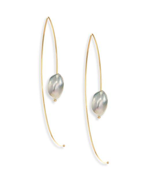 Mizuki - Metallic 7mm Light Grey Baroque Tahitian Pearl & 14k Yellow Gold Large Open Marquis Earrings - Lyst
