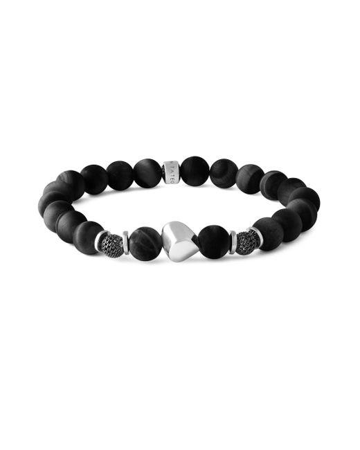 Tateossian - Nugget Silver Black Agate & Sterling Silver Bracelet - Lyst