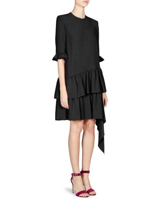 Alexander McQueen - Black Asymmetric Drape Mini Dress - Lyst
