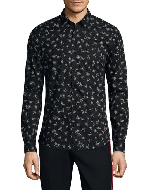 Lyst The Kooples Pine Tree Cotton Button Down Shirt In