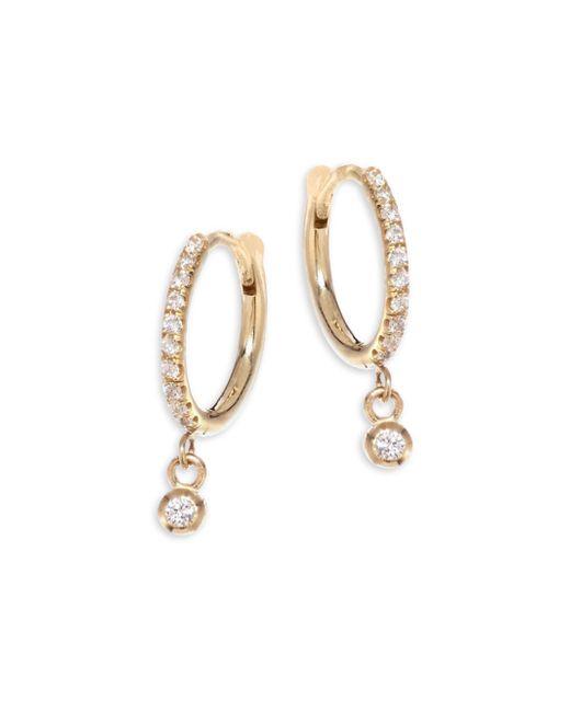 Zoe Chicco - Metallic Diamond & 14k Yellow Gold Huggie Hoop Earrings - Yellow Gold - Lyst