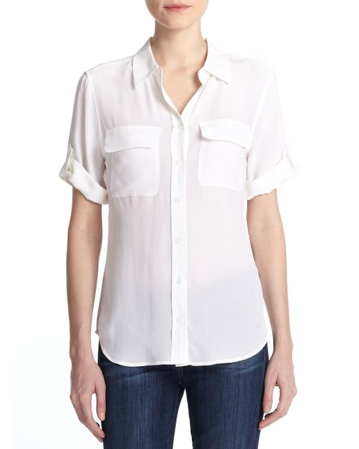 Equipment - White Short-sleeve Slim Blouse - Lyst