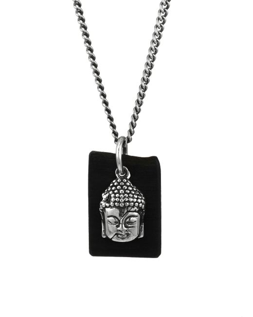 King Baby Studio | Metallic Sterling Silver & Leather Meditating Buddha Pendant Necklace for Men | Lyst