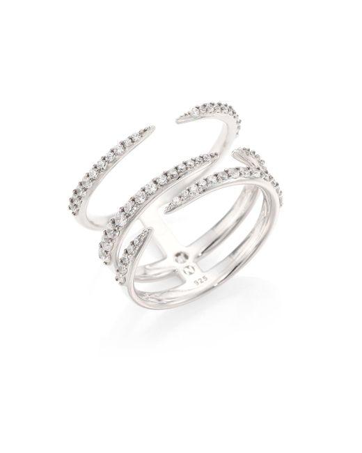 Adriana Orsini | Metallic Eva Pave Claw Ring | Lyst