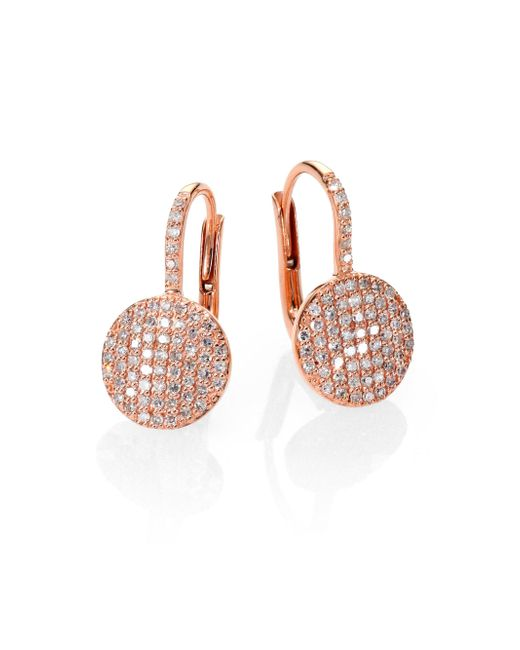 Phillips House | Pink Affair Diamond & 14k Rose Gold Petite Infinity Earrings | Lyst