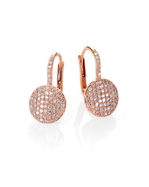 Phillips House - Pink Affair Diamond & 14k Rose Gold Petite Infinity Earrings - Lyst