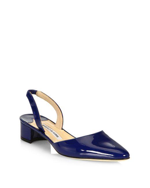 Manolo Blahnik | Blue Aspro Patent Leather Block Heel Slingbacks | Lyst