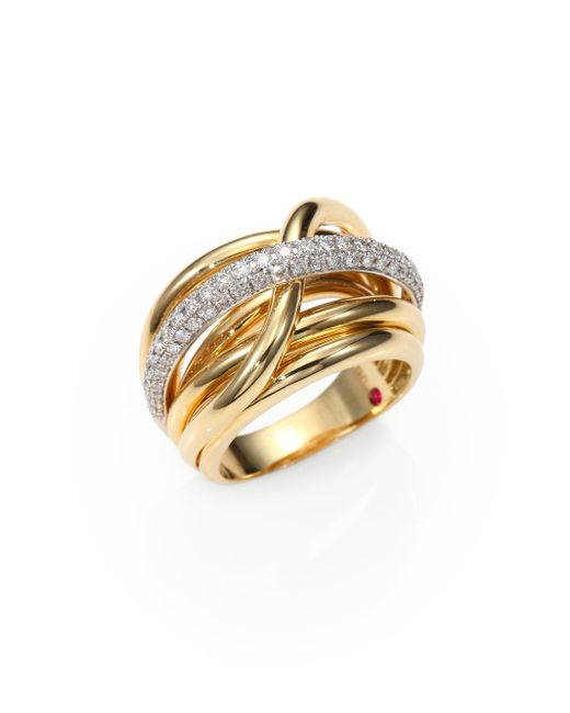 Roberto Coin | Classica Diamond & 18k Yellow Gold Crossover Ring | Lyst