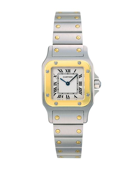 Cartier - Metallic Santos De Galbée Small Stainless Steel & 18k Yellow Gold Bracelet Watch - Lyst