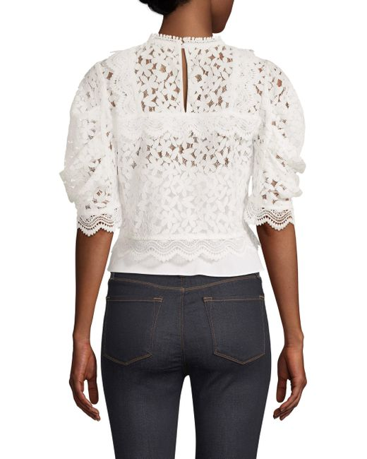 06c82838891078 ... MILLY - White Felicity Floral Lace Puff-sleeve Top - Lyst ...