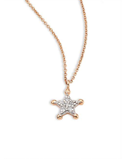 Kismet by Milka - Metallic Sherriff Star Diamond & 14k Rose Gold Pendant Necklace - Lyst