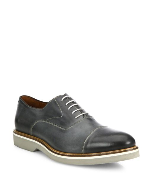 Saks Fifth Avenue - Gray Burnished Cap Toe Leather Oxfords for Men - Lyst